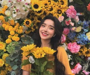 asian girls, flowers, and girl image