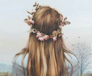 drawing, flowers, and girl image
