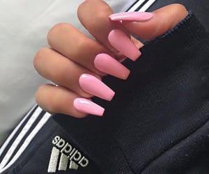 nails, pink, and adidas image