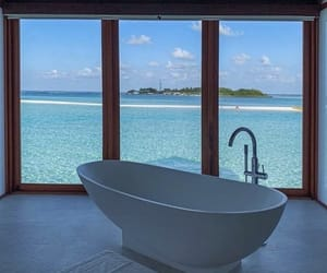 bathroom, beach, and blue image