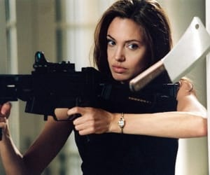 Angelina Jolie, angelina, and gun image