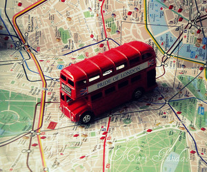 london, bus, and map image