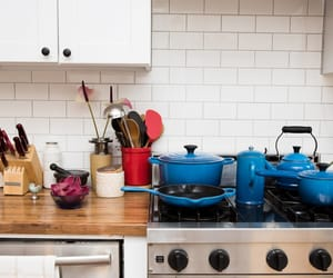 blue, home decor, and cast iron cookware image