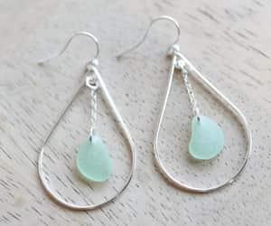 dangle earrings, sea glass jewelry, and sea glass earrings image