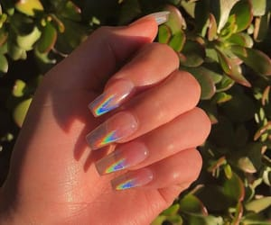 nails, girl, and holographic image