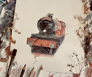 drawing, harry potter, and hogwarts express image