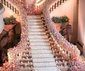 flowers, luxury, and stairs image