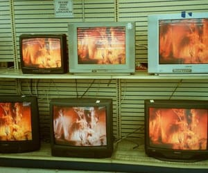 fire, tv, and aesthetic image