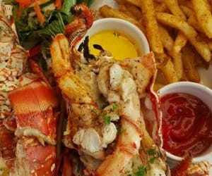 fries, vegetables, and lobster image