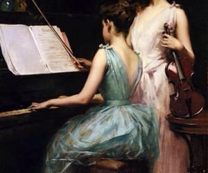 art, painting, and piano image