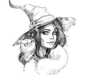 cat, portrait, and sketch image