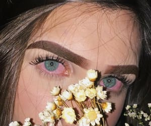 aesthetic, blue eyes, and flowers image