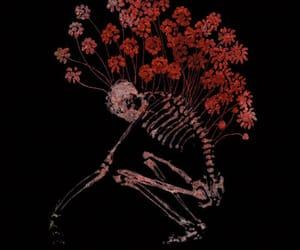 flowers, skeleton, and art image