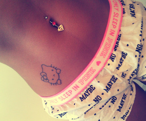 hello kitty, pink, and piercing image