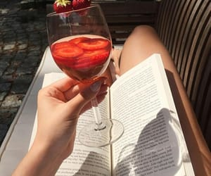 book, drink, and strawberry image