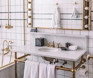 bathroom, design, and gold image