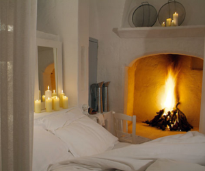 fireplace, bedroom, and cozy image