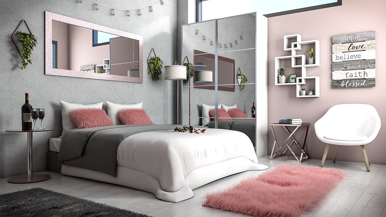 White, Rose Gold and Grey Bedroom Design Idea - roomdsign.com