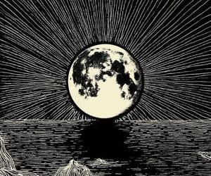 moon, art, and black image