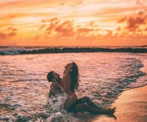 couple, love, and beach image