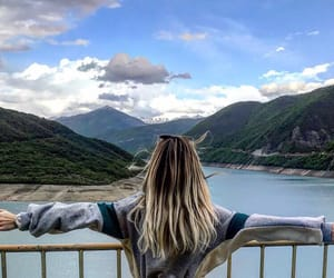 blond, blond girl, and mountains image