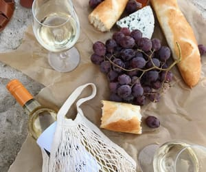 bread, grapes, and picnic image