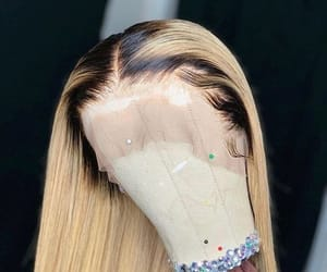blond, blonde wig, and roots image