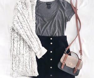 black skirt, cardigan, and fashion image