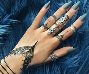 henna, nails, and blue image