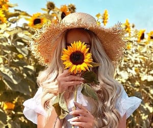 girl, beauty, and sunflower image