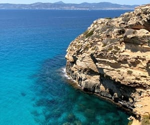 beach, cliffs, and mallorca image