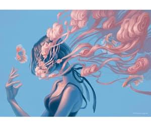 art, fish, and girl image