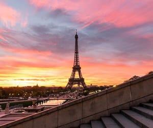paris, sunset, and pink image