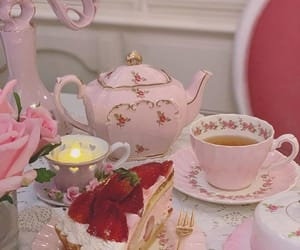 strawberry, pink, and tea image