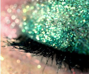 glitter, makeup, and green image