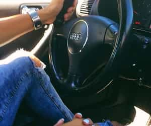 car, hug, and ripped jeans image