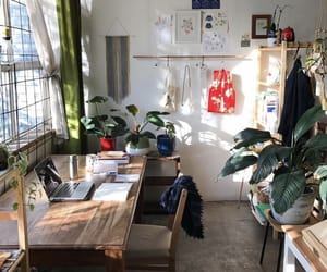plants, room, and desk image