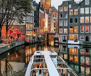 amsterdam, boat, and citylights image