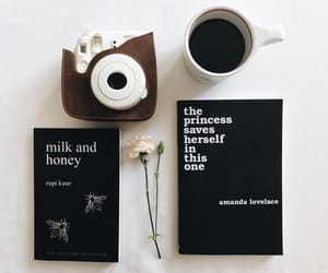book, coffee, and polaroid image