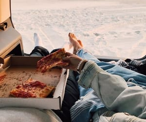 beach, pizza, and couple image