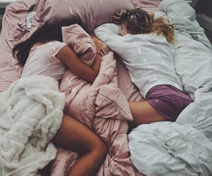 girl, friends, and sleep image