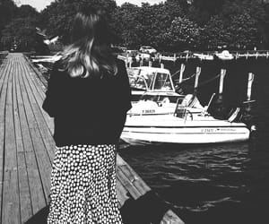 black and white, boat, and pier image