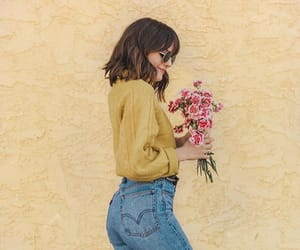 flowers, sweater, and yellow image