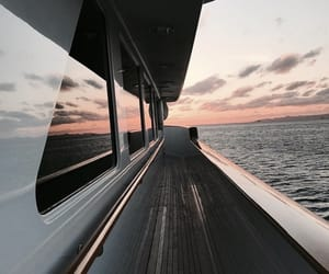 sea, sunset, and travel image