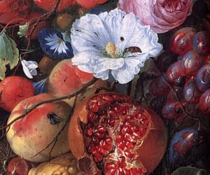 art, fruit, and flowers image