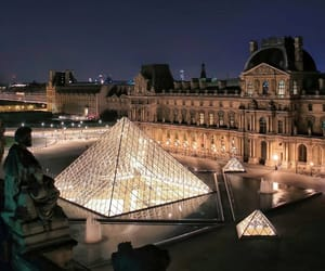 architecture, roofs, and pyramide du louvre image