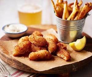 food, scampi, and chips image