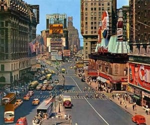 new york, times square, and 1950s image