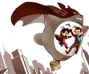 totoro, batman, and robin image