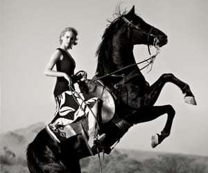 actress, black n white, and horse image